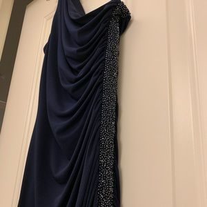 Navy one-shoulder side-sequenced gown